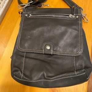 NEW FOSSIL Genuine Leather Crossbody Bag Black